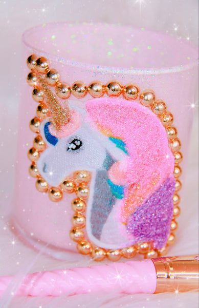 Unicorn Pink Glitter brush holder