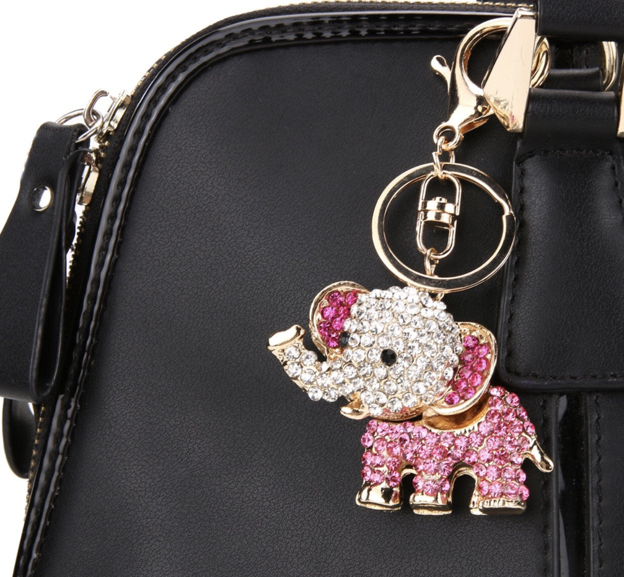 Elephant bag charm keychain in pink