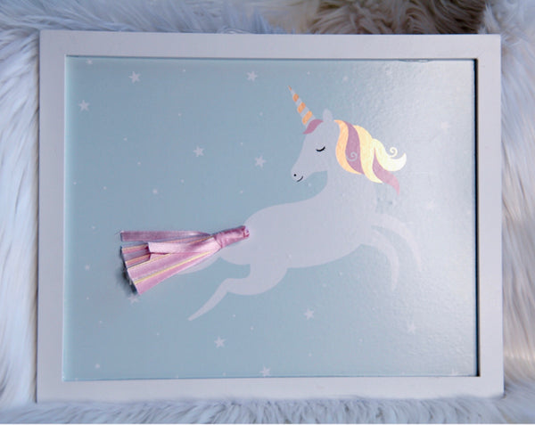 Unicorn decor wall picture with white wooden frame