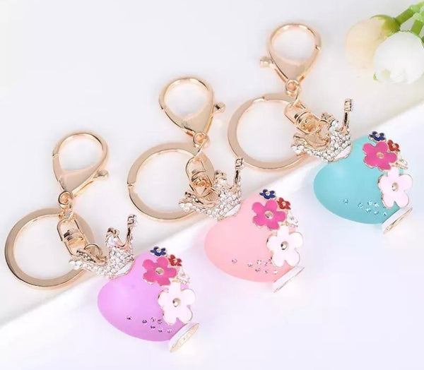 Princess heart with a crown bag charm keychain