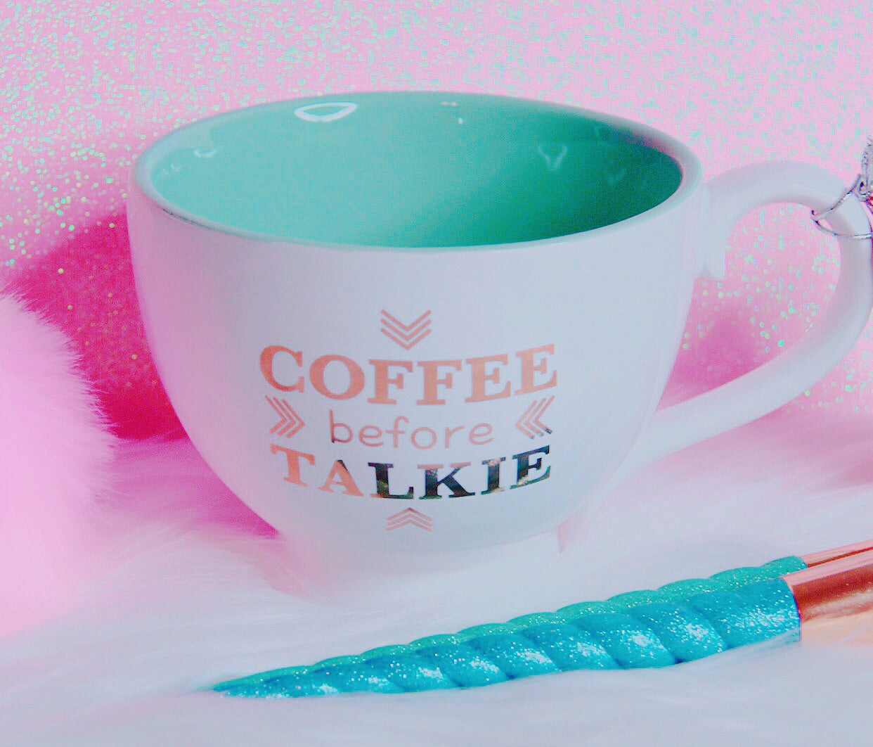 Coffee Before Talkie teal white mug