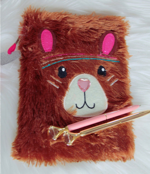Brown fuzzy teddy bear 🐻 notebook - Classy Pink Boutique