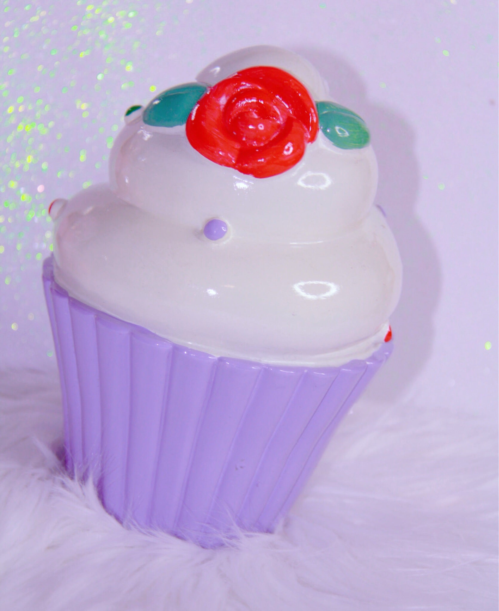 Cupcake decor with purple bottom