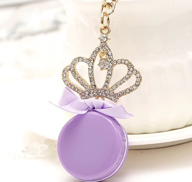 Lilac macaroon crown bag charm