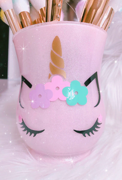 Unicorn with pastel flowers and stars brush holder