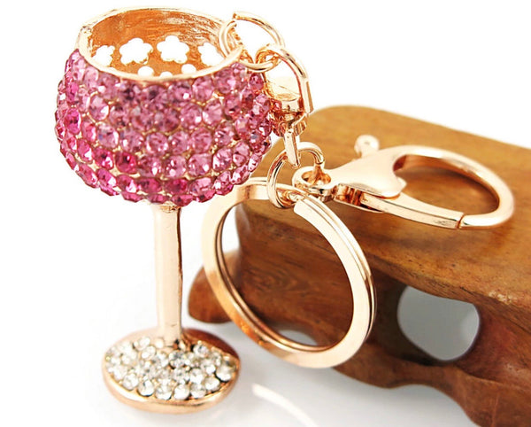 Pink crystal wine glass bag charm keychain