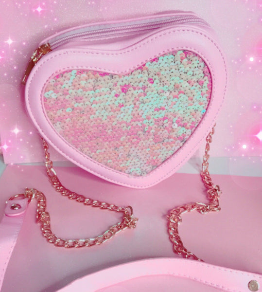 Baby pink heart fashion bag with gold zipper