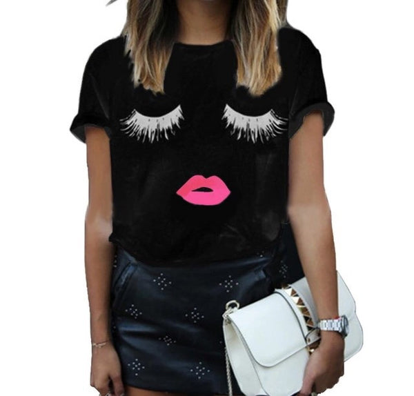 Eyelash girl black shirt