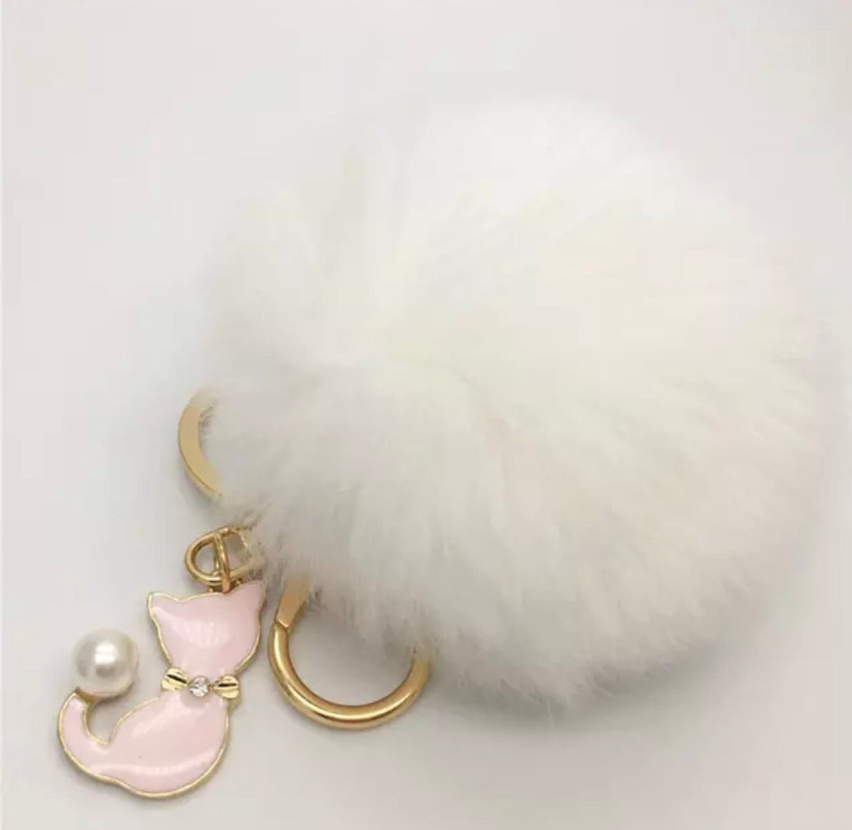Kitty pom pom bag charm keychain