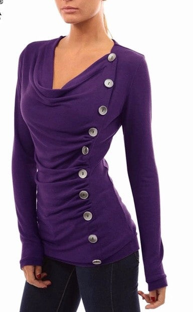 Purple classy buttons top