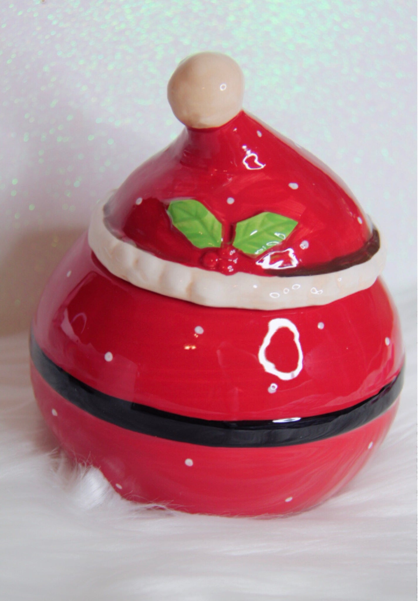 Santa hat jar decor