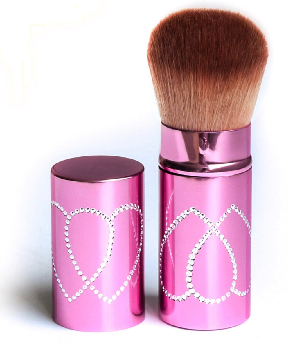 Fancy Kabuki brush with heart crystals