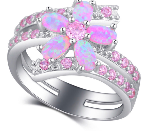 Pink crystal flowers 🌸 ring