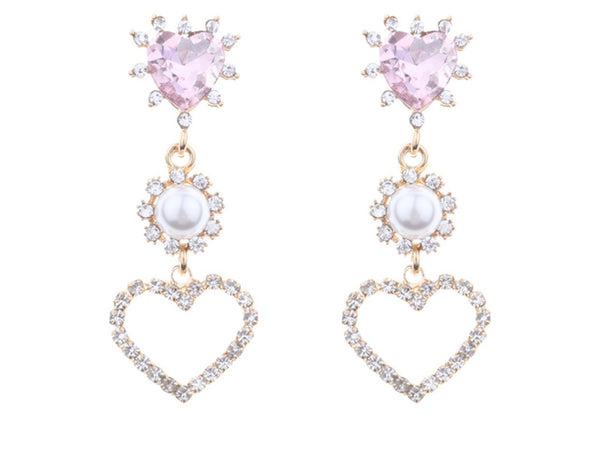 Pink hearts and diamond pearls earrings