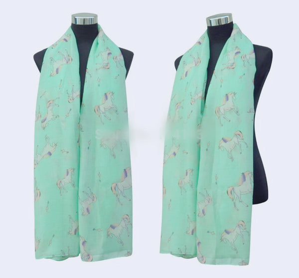 Unicorn 🦄 teal light weight scarf for Spring 🦄👗🌸🌷🌼