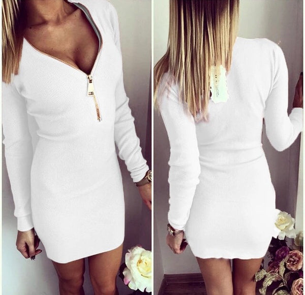 Classy White knitted dress with zipper