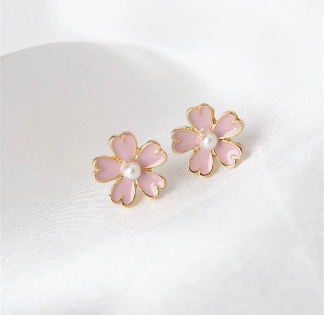 Light pink flower with pearl stud earrings - Classy Pink Boutique