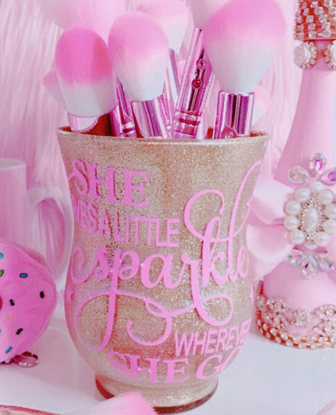 Brush holder in gold glitter & pink letters - Classy Pink Boutique