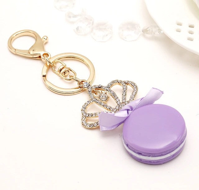 Lilac macaroon crown bag charm - Classy Pink Boutique