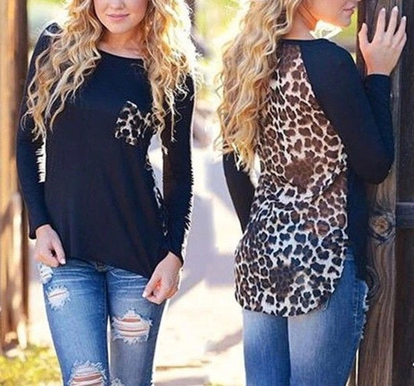 Black/Leopard fashion top