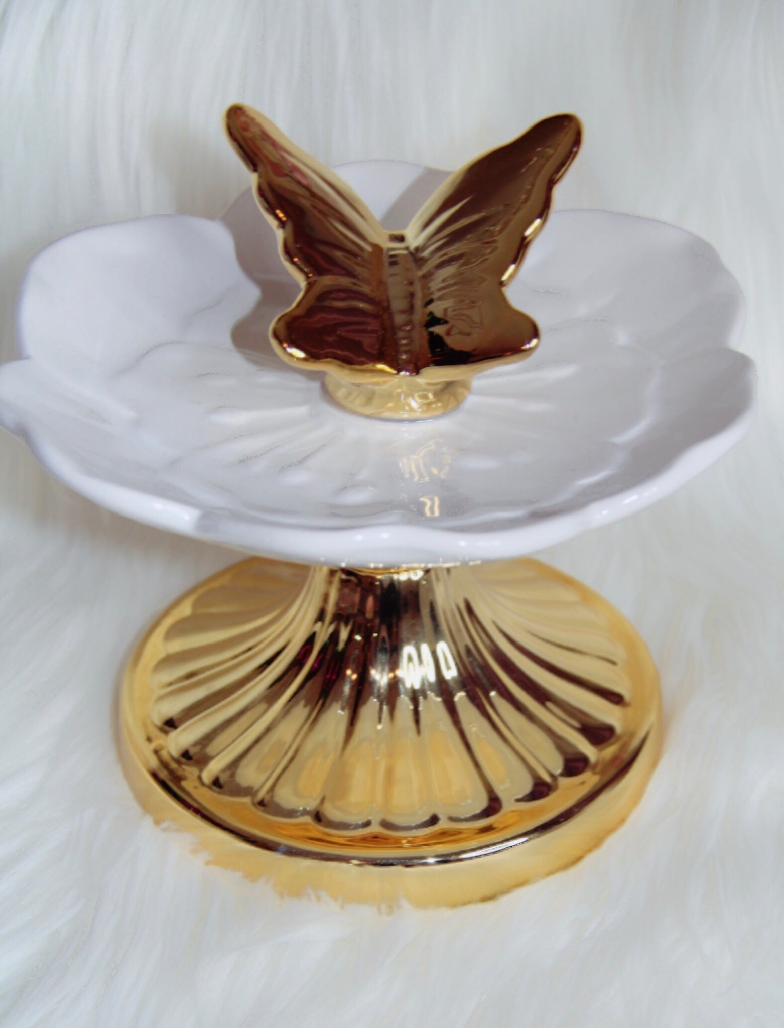 Butterfly high stand trinket tray for decor