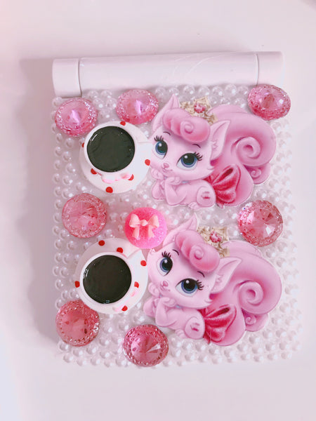 Coffee time with queen cats compact mirror with lights inside