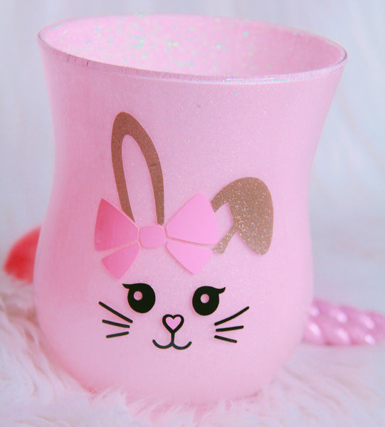 Bunny brush holder with pink glitter