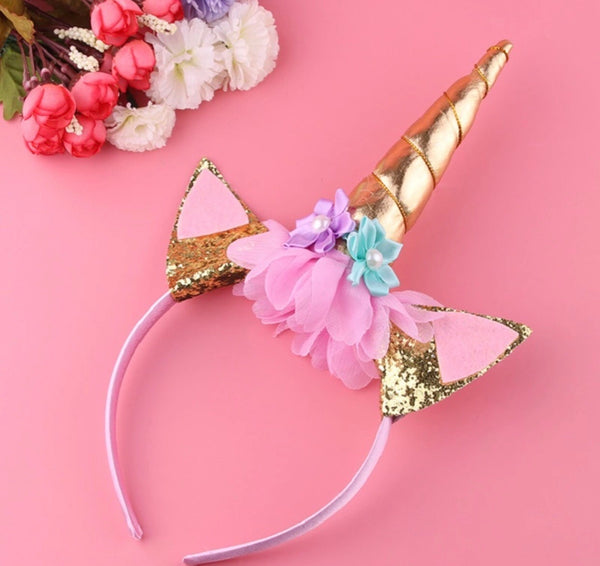 Unicorn headband in gold/pink