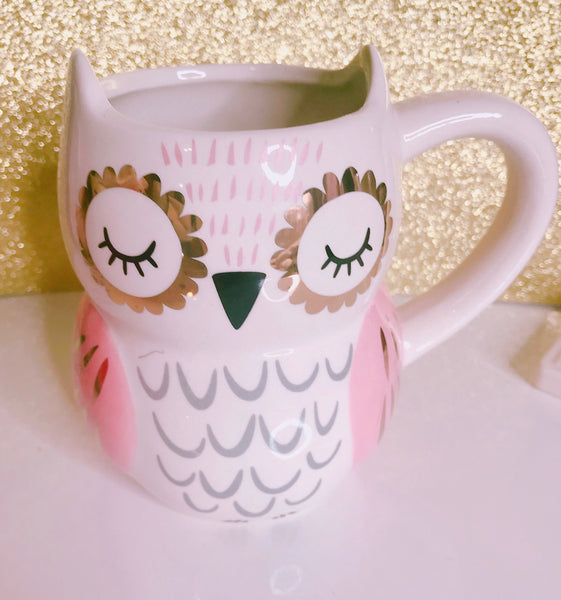 Owl mug with pink and gold