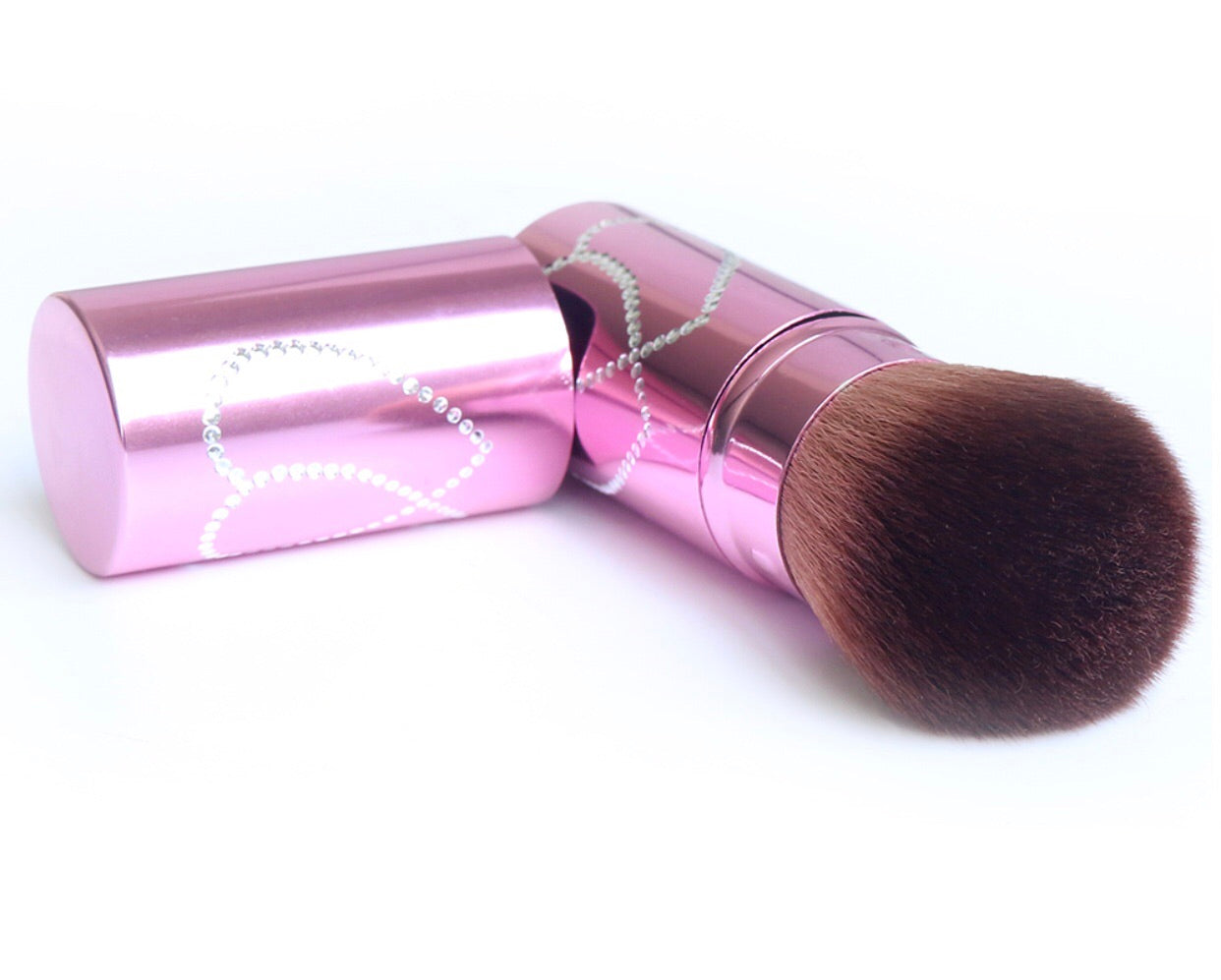 Fancy Kabuki brush with heart crystals - Classy Pink Boutique