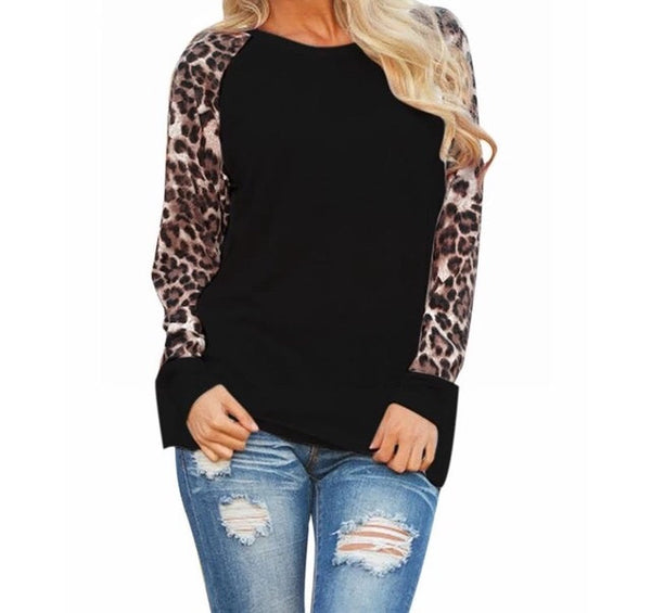 Long sleve leopard casual top
