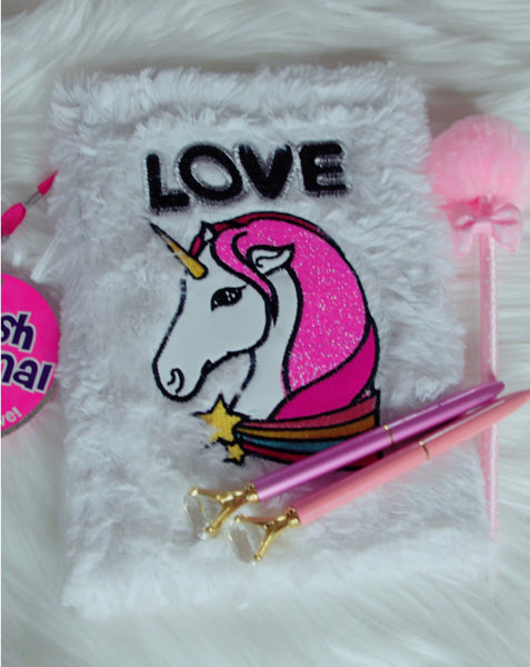Unicorn Love fuzzy notebook