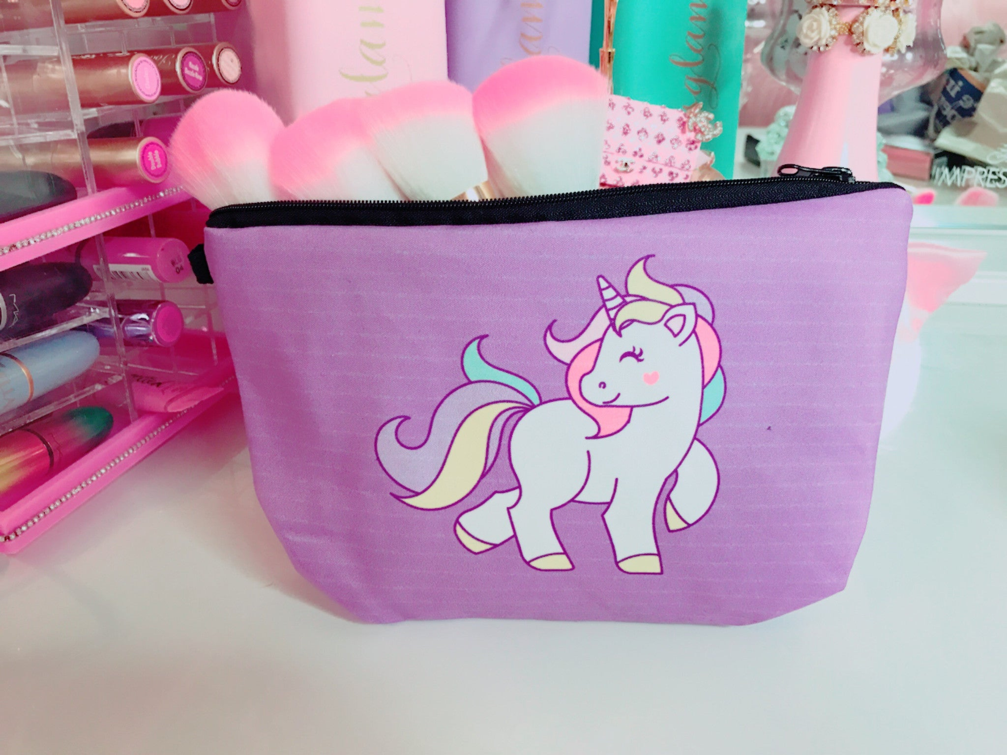 Purple Unicorn makeup bag