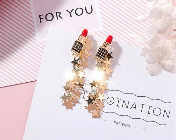 Lipstick star earrings - Classy Pink Boutique