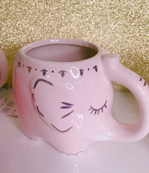 Pink elephant mug with gold accents