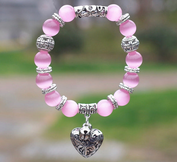 Beautiful pink bracelet with heart - Classy Pink Boutique