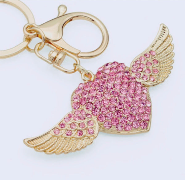 Angel heart bag charm keychain