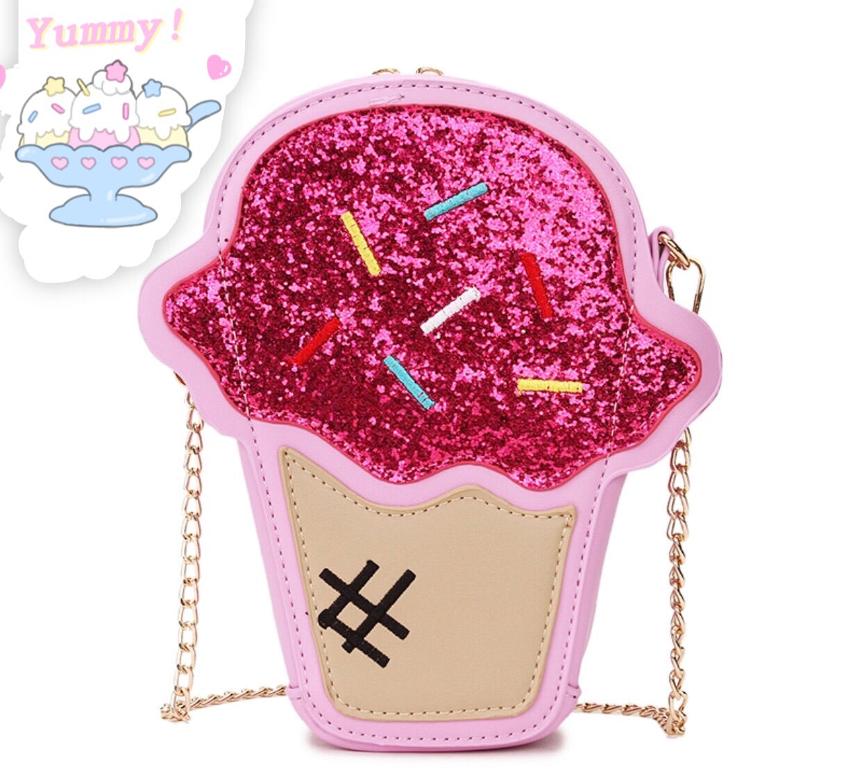 Ice cream purse bag with zipper