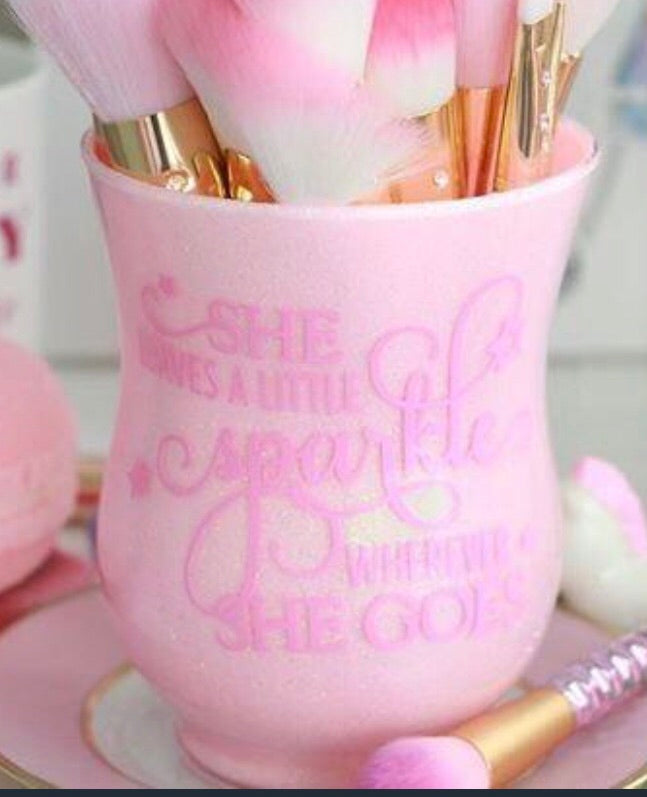 """She leaves a little sparkle whenever she goes"" brush holder - Classy Pink Boutique"