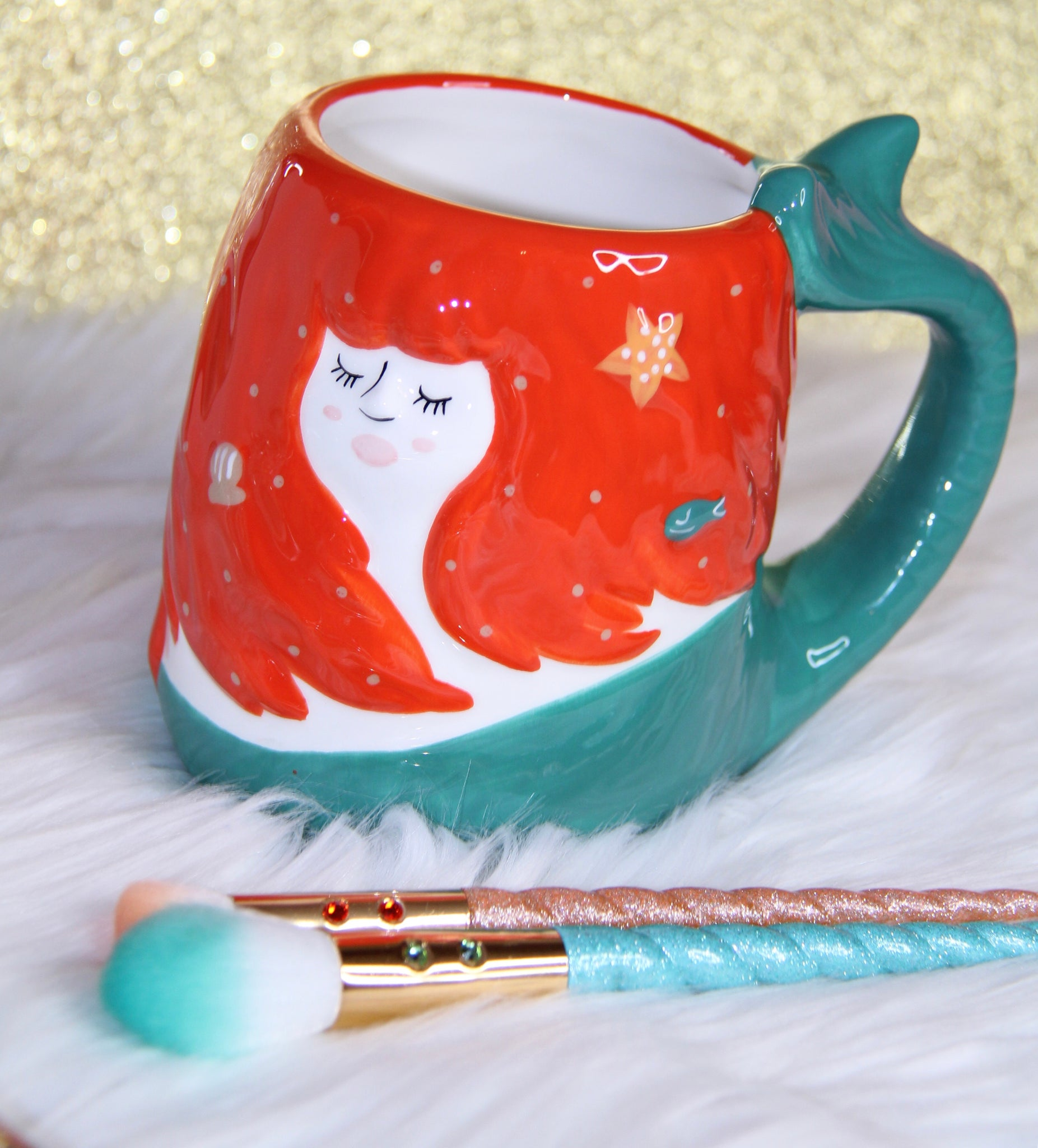 Mermaid mug with tail handle - Classy Pink Boutique