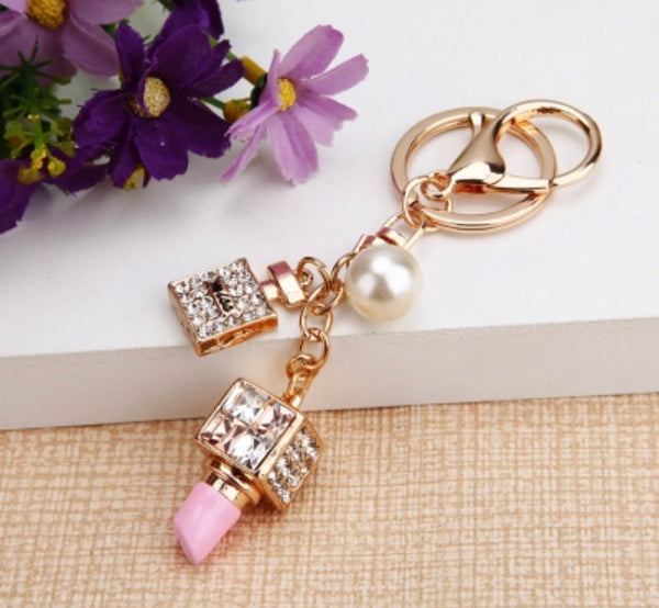 Lipstick bling fashion bag charm keychain