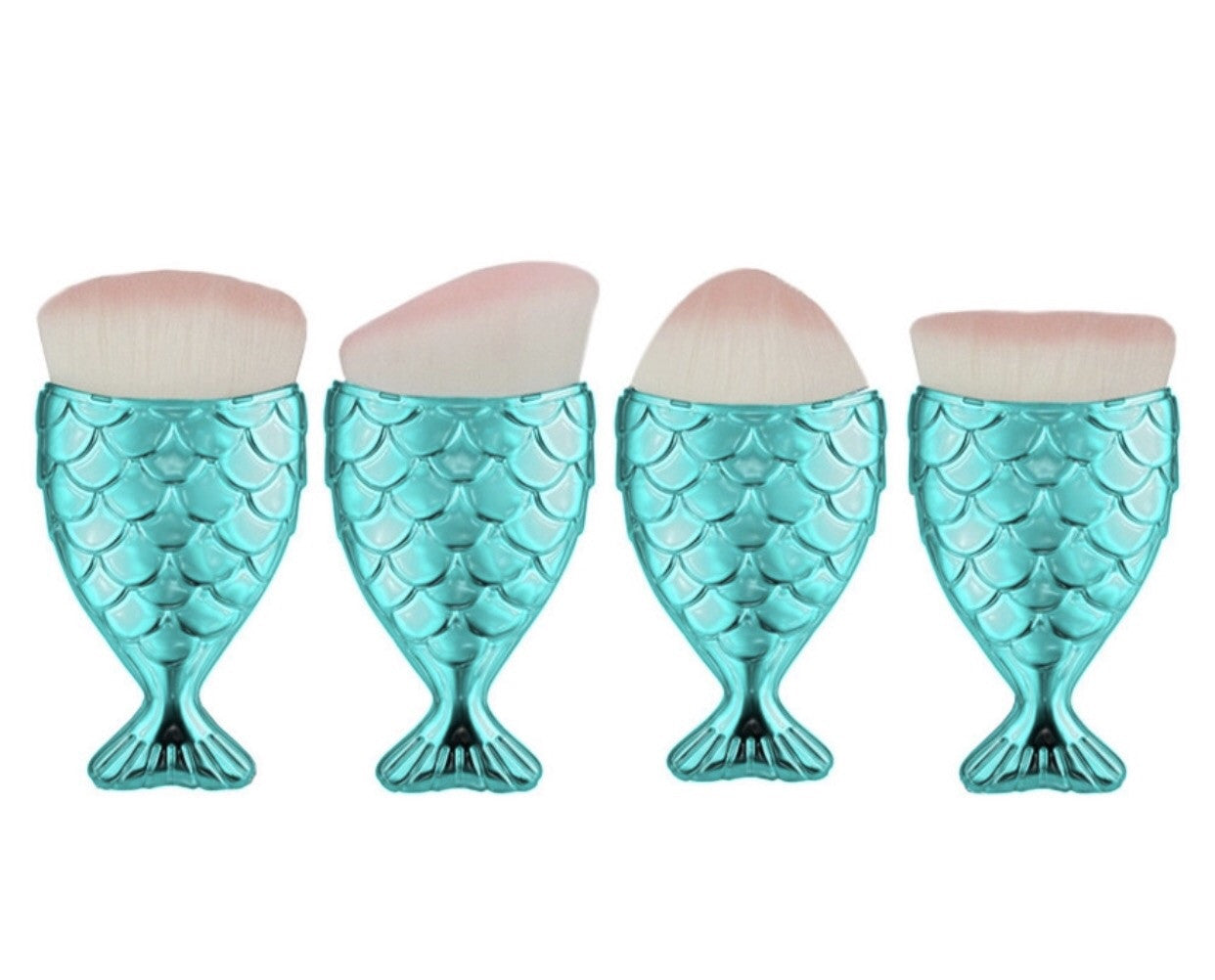Teal mermaid tail brushes set of 4