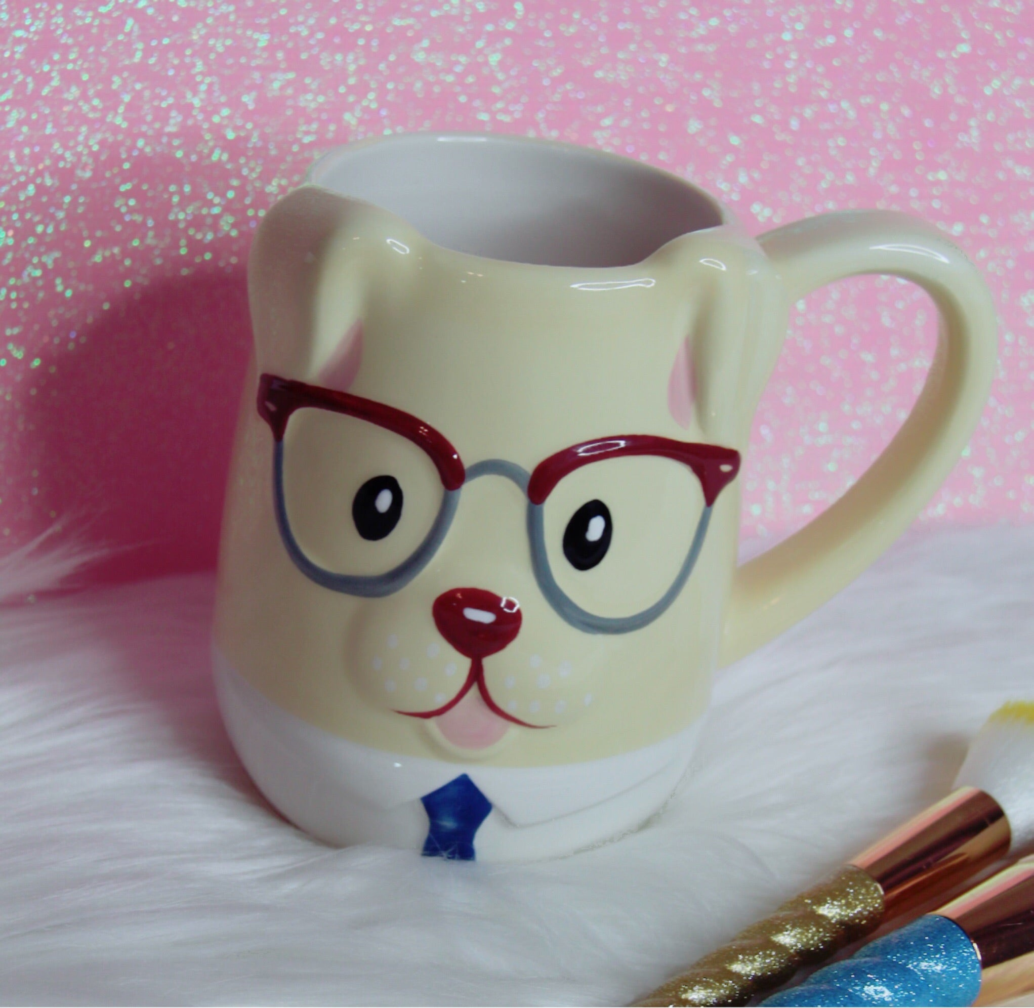 Puppy with glasses mug