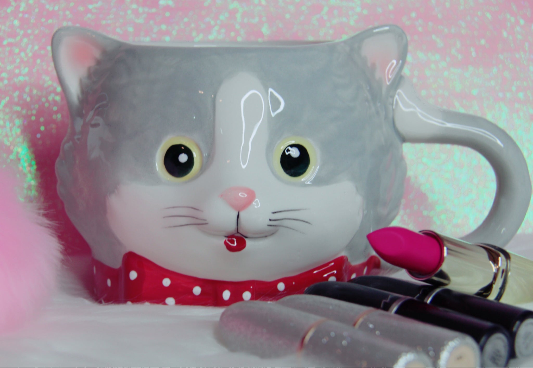 Kitty with red bow mug - Classy Pink Boutique