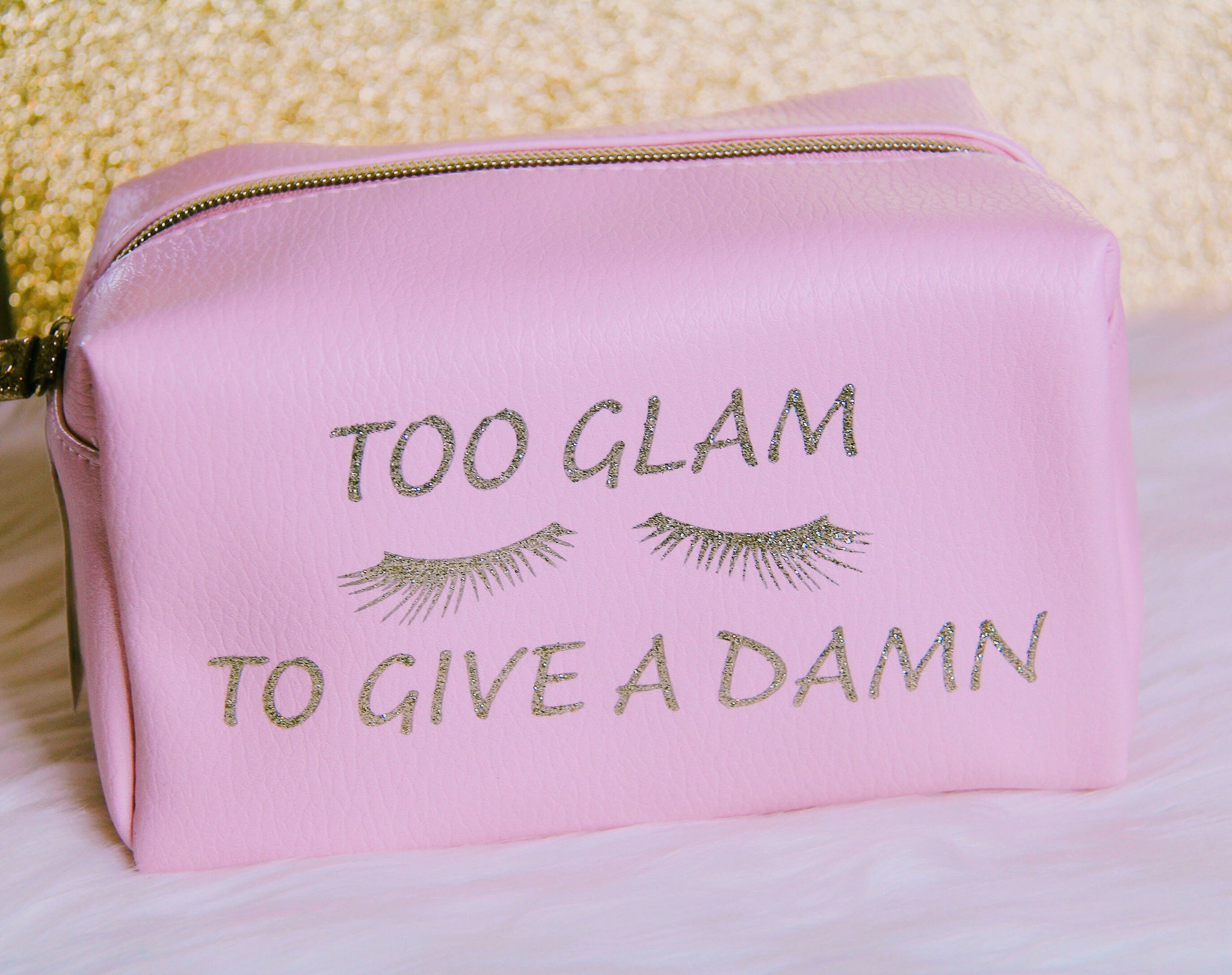 Too Glam light pink makeup bag