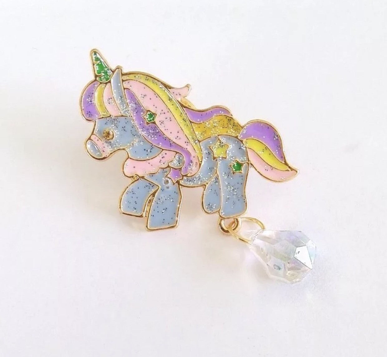 Blue sparkle unicorn pin