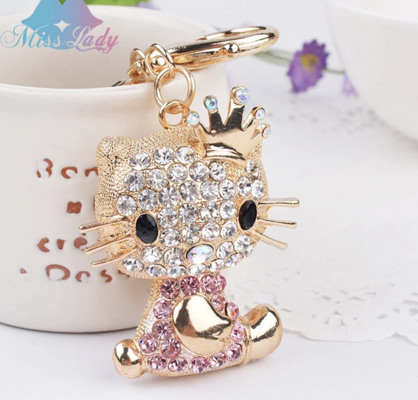 Princess Hello Kitty with a crown bag charm keychain