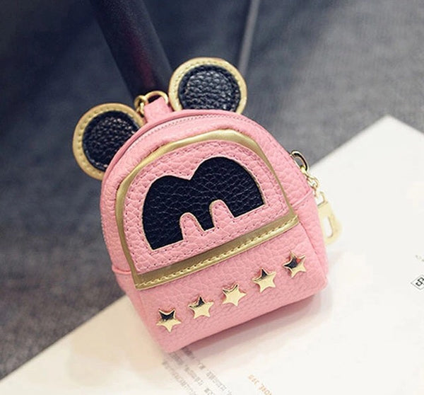 Pink Mini backpack bag charm keychain