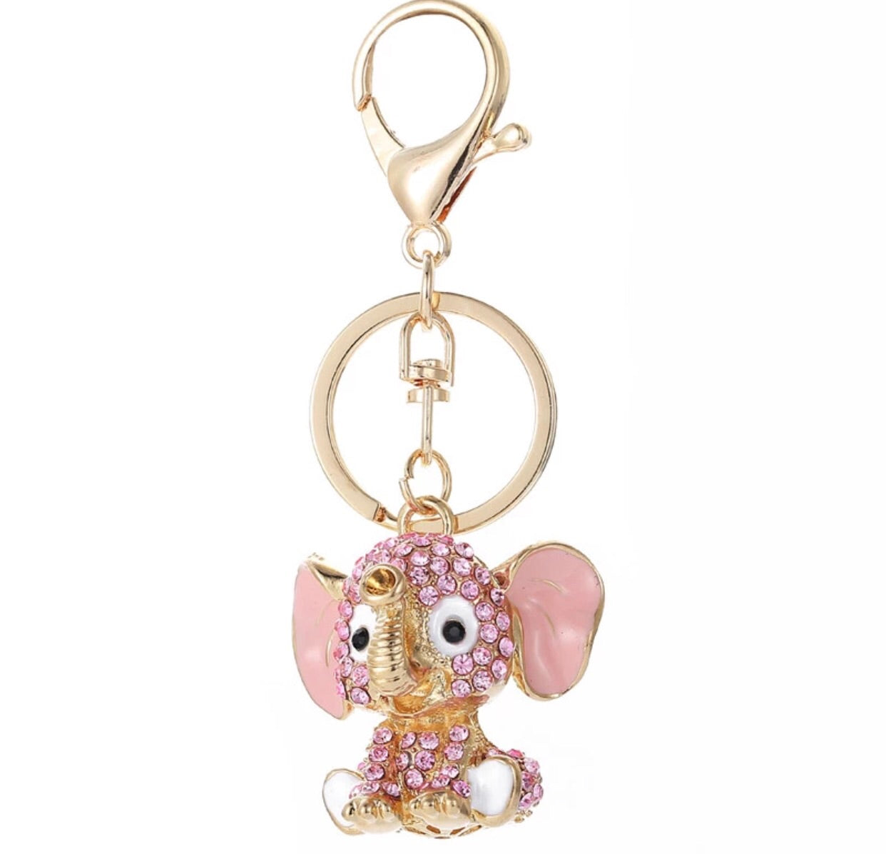 Baby elephant light pink bag charm keychain