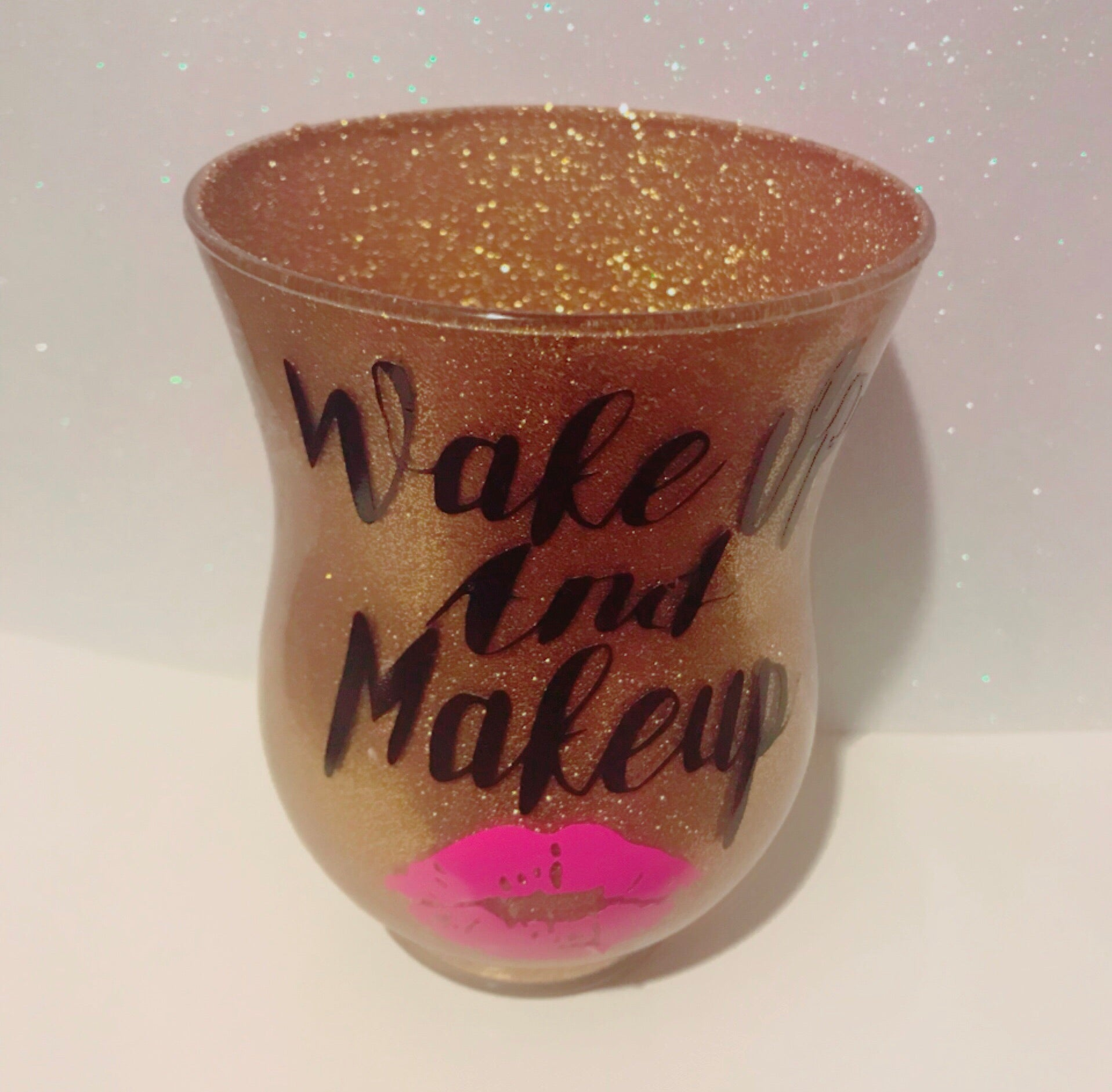 Wake up & Makeup in gold glitter brush holder